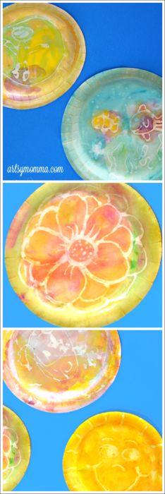Kids Art: Watercolor Glue Resist Painting | artsymomma.com