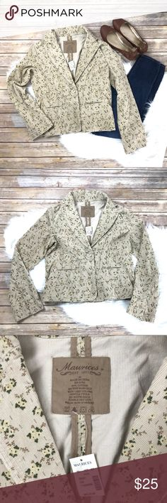 "NWT Maurice's Corduroy Floral Blazer, One Button NWT Women's Maurice's Corduroy Floral Blazer. Size Medium. Tan color. One button closure. Approximately 21"" in length. Maurices Jackets & Coats Blazers"