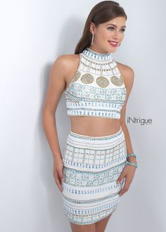 Intrigue 177 Ivory Unique Beaded Two Piece Cocktail Dress