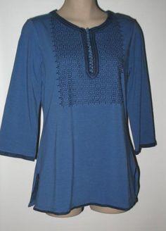 Isaac Mizrahi Live! 3/4 Sleeve Embroidered Knit Tunic SMALL (6/8) BLUE #IsaacMizrahiLive #Tunic #Versatile
