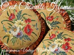 Vintage needlpoints pillows (tuffets) with petit point hummingbirds. There are 3 hummingbird tuffets and 3 floral tuffets to match...a rare find! vintage needlepoint pillows at www.CestChouetteHome.com