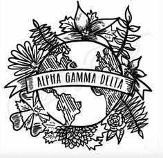 Alpha Gamma Delta | AGD | Globe | Earth | Floral | Hand Drawn T-Shirt Design | Sisterhood | Bid Day | Recruitment | South by Sea | Greek Tee Shirts | Greek Tank Tops | Custom Apparel Design | Custom Greek Apparel | Sorority Tee Shirts | Sorority Tanks | Sorority Shirt Designs