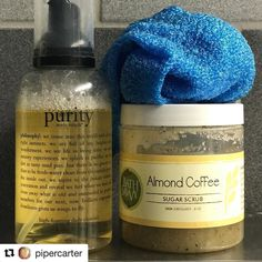 We this post by @pipercarter and how she uses her Almond Coffee Scrub in her fitness routine . Thx for sharing   Ok so I have these in my gym bag at #FitnessWorks : Purity Foaming Facial Cleanser by @philosophyofficial and Almond Coffee Sugar Scrub by @bathsavvy that I got from @northenddetroit I took this pic in the shower. That's my exfoliating gloves. I love the gloves because they stimulate circulation & that's great for cleansing skin all over the body and getting rid of dead skin cells…