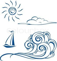 Boat waves, clouds and sun Vector illustration on white