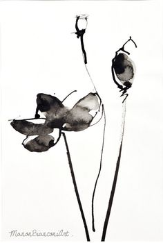 Items similar to Original Ink-Poppies-Flower-Plant-Black- nature illustration-abstract painting-Decoration minimalist-Gift birthday-gift woman on Etsy Japanese Painting, Chinese Painting, Chinese Art, Japanese Art, Abstract Watercolor, Watercolor And Ink, Watercolor Paintings, Abstract Art, Dandelion Drawing