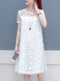 Round Neck Patchwork Polka Dot Shift Dress , Buy Affordable And Fashionable Women's clothing Online. Buy Shoes, Bags, Dresses Etc. Casual Dresses, Fashion Dresses, Summer Dresses, Shift Dresses, Maxi Dresses, Jolie Lingerie, Dress Silhouette, Buy Dress, Short Sleeve Dresses