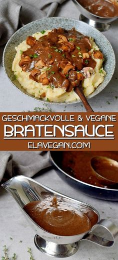Easy vegan gravy made from scratch with simple ingredients! This homemade mushroom gravy is simply the best because it's rich, hearty, flavorful, and a perfect recipe for the holidays. Pour the sauce over mashed potatoes, vegan meatballs or meatloa Vegan Sauces, Vegan Dishes, Vegan Food, Whole Food Recipes, Cooking Recipes, Cooking Dishes, Vegan Gravy, Vegan Meatballs, Easy Homemade Recipes