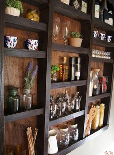 built in kitchen wall shelves, closet, diy, kitchen design, painting, shelving ideas, wall decor