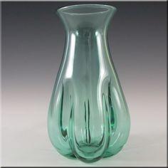 Whitefriars 1970's Aqua Glass Lobed Vase - 9859 - £34.99