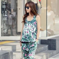 Set: Palm Tree Pattern Tank Top + Harem Pants from #YesStyle