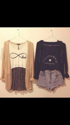 Creme cartigan white love infinity shirt floral skirt Pink hoodie california love shirt and high waisted studded shorts