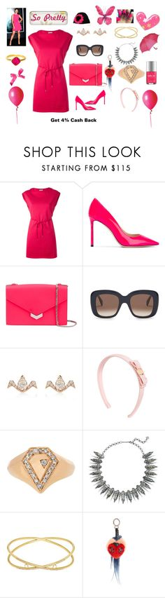 """mini dress"" by jamuna-kaalla ❤ liked on Polyvore featuring Moncler, Jimmy Choo, Raphaele Canot, Salvatore Ferragamo, Jacquie Aiche, Kendra Scott, SUSAN FOSTER, Fendi and Alba Botanica"