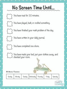 NO SCREENTIME UNTIL Free Printable