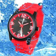 FW848F الأسود Watchcase سيليكون الأحمر باند بوي فتاة 100٪ اختبارها 3ATM الأزياء ووتش