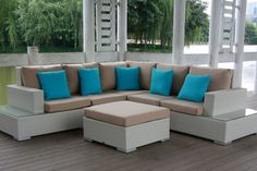 Linz 6 Piece Outdoor Modular Lounge Setting | Outdoor Lounges | Wicker Furniture