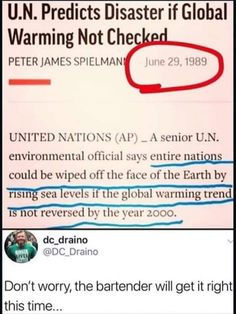 """Predicts Disaster if Global Warming Not Che PETERJAMES SPIELMAN could be off [hu [Luce ul"""" Ihc Earth by I not revcrscd by thc )mr Don't worry, the bartender will get it right this time. Iblame all white people! - I blame all white people Liberal Hypocrisy, Liberal Logic, Socialism, Political Memes, Conservative Politics, Global Warming, Thought Provoking, Climate Change, Fun Facts"""
