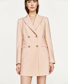 DOUBLE BREASTED FROCK COAT in nude pink from Zara (under $100)