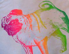 Rainbow Pug Tea towel