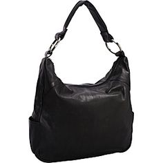 R  R Collections Leather Top Zip Hobo - BLACK - via eBags.com!