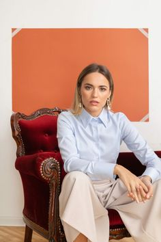 Floriana Lima, Woman Shirt, Shirt Blouses, Shirts, Collar Blouse, Button Up, Ties, Bell Sleeve Top, Women's Fashion