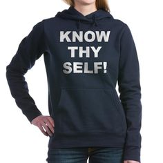 (FRONT) Women's dark color navy blue zip hooded sweatshirt with Know Thy Self theme. The Know Thy Self phrase is a spiritual esoteric saying reminding the individual that inner truth and awareness is important to understanding our existence. Available in black, navy blue, charcoal heather grey; small, medium, large, x-large, 2x-large size for only $48.99. Go to the link to purchase the product and to see other options – http://www.cafepress.com/stkts