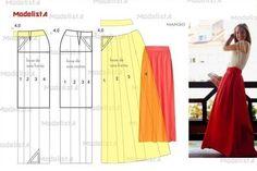 Ideas para el hogar: 8 Modelos de faldas largas costura fácil con moldes gratis