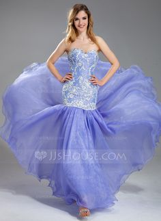 Prom Dresses - $186.99 - Mermaid Sweetheart Floor-Length Organza Charmeuse Prom Dress With Lace Beading (018019004)