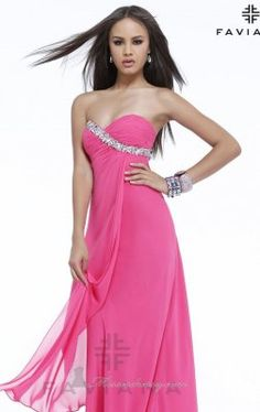 Strapless Pleated Chiffon Beaded Long Gown by Faviana 7340