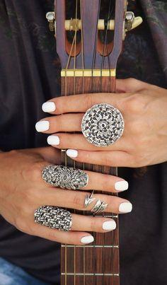 Boho Jewelry Bohemian Mandala Ring. Stack all your HappyGoLicky.com rings for a carefree modern boho look #bohochic #bohojewelry #modernboho