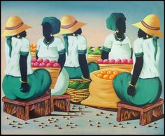 "Haitian Market Women Socializing - Haitian Hand Painted Art - 20"" x 24"" -$39.95 - To see more, visit us at www.HaitiGallery.com"