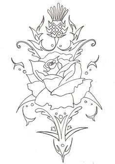 English rose to scottish thistle tattoo design by