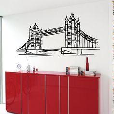 Londra ponte muro decalcomanie Londra Interior Design Inghilterra Living camera parete Decor vinile adesivo Home Decor Wall Art Decor KG481