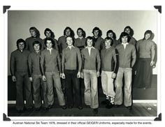 The Austrian National Ski Team, Winter Olympics 1976 Innsbruck, Austria. Dressed in GEIGER jackets especially made for the historic event. Among the skiers are Franz Klammer and Bernhard Russi Skiers, Winter Games, Innsbruck, Winter Olympics, Austria, Jackets, Sports, Winter Olympic Games, Down Jackets