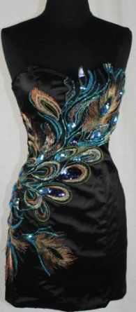Zeilei Strapless Peacock Embroidery Evening Cocktail  Dress