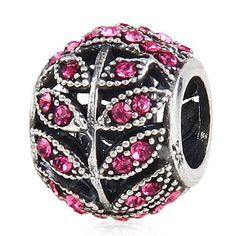 Fits Pandora Original charm bracelet 925 silver beads C2131  Austria imported Rose Crystal leaf  factory direct wholesale