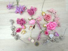 25 flores surtidas, materiales para tocados, flores artificiales, materiales para coronas, flores de tela, material diy, flores de seda
