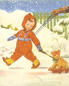 Vintage Childrens Print - Child Wearing Reins Walks in The Snow Dragging Toy Cat On Wheels . Ideal for Framing. , via Etsy. Vintage Children's Books, Vintage Cards, Vintage Postcards, Vintage Images, Baby Boomer, Baby Drawing, Illustrations Posters, Vintage Illustrations, Retro Art
