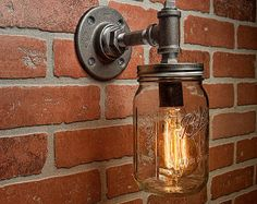 Mason Jar Light Fixture  Industrial Light Light  Rustic от TMGDZN