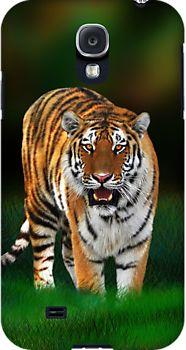 NEW!  #Tiger on #Green #Samsung_Galaxy_Cases - by #BluedarkArt  -  on #Redbubble