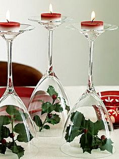 Christmas Centerpeice - Change up to your favorite flowers and color tealights for a simple and inexpensive wedding centerpiece