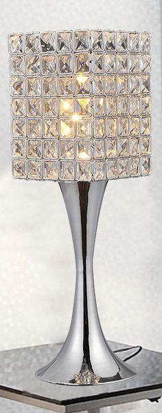 Crystal Table Lamp so pretty Cool Lighting, Chandelier Lighting, Crystal Chandeliers, Black And White Living Room, Led Diy, Ceiling Decor, Black Decor, My New Room, Vases Decor
