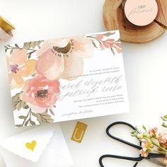 spring floral peach wedding invitations | Smitten on Paper