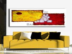 Textured impasto 24 x 48 large canvas Painting modern by baronvisi, £155.00