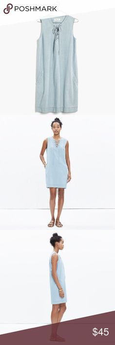 🎉HOST PICK🎉 Madewell Chambray Shift Dress Madewell chambray shift dress. Women's xsmall but dress is made to be loose fitting so it runs large. Worn once and still in perfect condition. Lace up neckline. Functional pockets on both sides 💙 Madewell Dresses