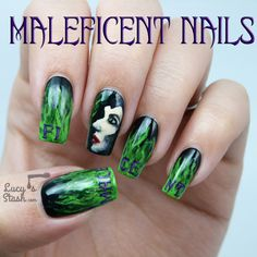Maleficent nail art manicure with picture TUTORIAL - Lucys Stash Love Nails, Fun Nails, Pretty Nails, Maleficent Nails, Maleficent Costume, Vacation Nails, Gel Nail Art, Nail Polish, Disney Nails