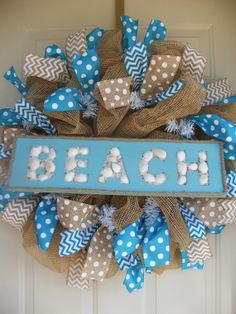 Beach Paper Burlap Mesh Wreath by TowerDoorDecor on Etsy Burlap Crafts, Wreath Crafts, Diy Wreath, Burlap Wreath, Diy Crafts, Wreath Ideas, Nautical Wreath, Decoupage, Deco Mesh Wreaths
