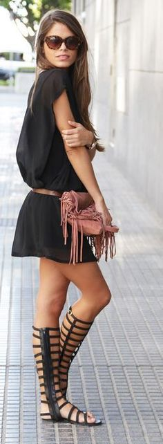 Charcoal gray tshirt dress belted with gladiator sandals