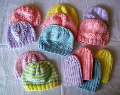 Preemie Hats by nosmallfeet, via Flickr    Some with diamonds, some with hearts - cute, cute, cute!!!      ---Free Patterns