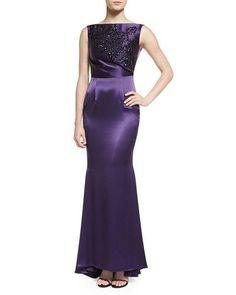 TAG94 Talbot Runhof Sleeveless Embellished Gown, Purple