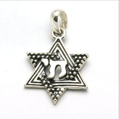 Sterling Silver Star of David Chai Pendant Oxidized Small
